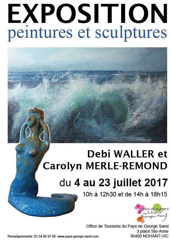 affiche exposition Debi Waller et Carolyn Merle-Rémond